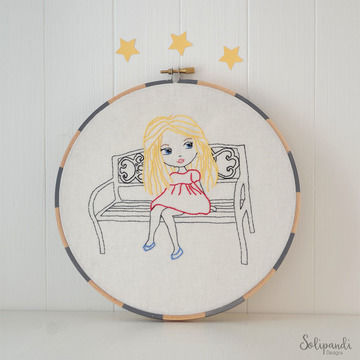 Download Little Blond Girl Sitting on Park Bench, Hand Embroidery PDF Pattern - Embroidery Patterns immediately at Makerist