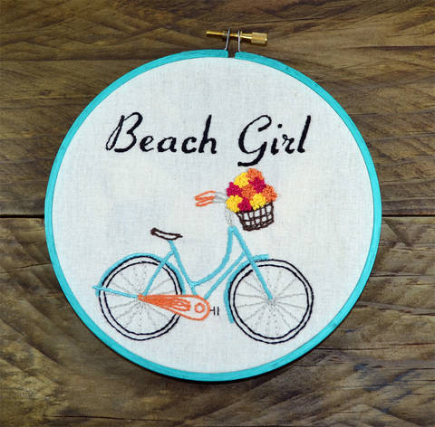 Download Ladies Beach Cruiser Bike, Turquoise retro bicycle with pastel flowers in basket, Hand Embroidery PDF immediately at Makerist