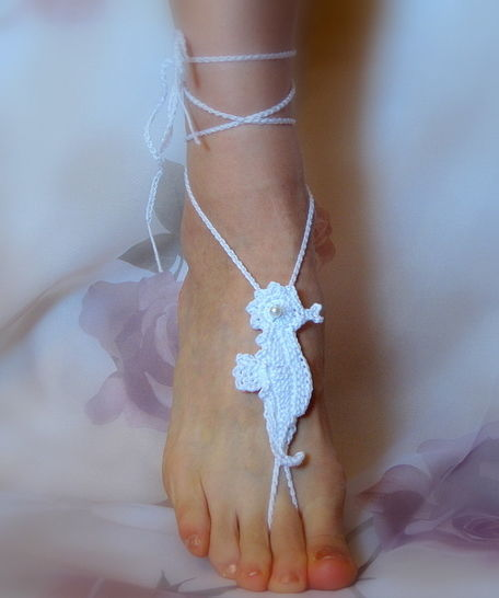 Download Barefoot Sandals Seahorse, Bridal, Summer, Beach Wedding, Yoga - Crochet Patterns immediately at Makerist