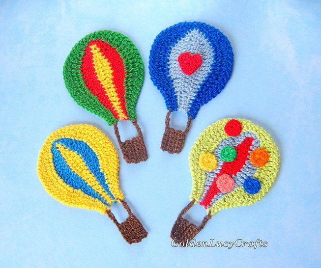 Download Hot Air Balloon Applique - Crochet Patterns immediately at Makerist