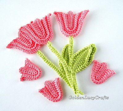 Download Tulip with Stem and Leaf, Applique - Crochet Patterns immediately at Makerist
