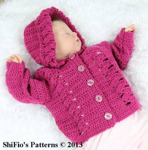 Download CP2 Trellis Baby Hooded Jacket in 4 Sizes 0-12mths Crochet Pattern #2 immediately at Makerist