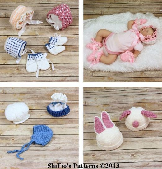 Download CP6 Pig, Bunny Hats, 2 x Bonnets, Cap, 2 x Mittens, 2 x Booties, Earflap Helmet Crochet Pattern #6 - Crochet Patterns immediately at Makerist