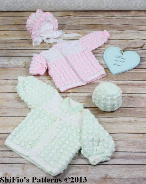 Download CP18 Bobble Twins Jacket, Bonnet & Hat Baby Crochet pattern #18 immediately at Makerist