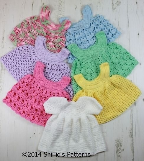 Download CP20 Baby Dress and 6 Aprons Baby Crochet Pattern #20 - Crochet Patterns immediately at Makerist