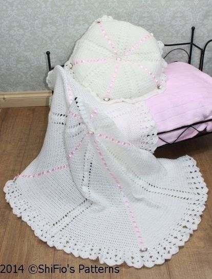 Download CP22 Summer Satin Christening Shawl, Afghan & Pillow Baby Crochet Pattern #22 - Crochet Patterns immediately at Makerist