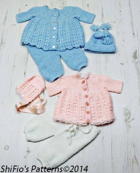 Download  CP23 Pippety Pop Jacket, Dress, Trousers/Pants, Bonnet & Hat Baby Crochet Pattern #23 immediately at Makerist