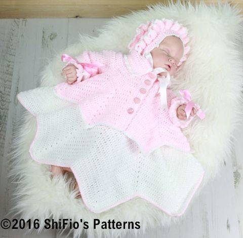 Download CP30 Ripple Baby Dress, Jacket & Bonnet Baby Crochet Pattern #30 immediately at Makerist