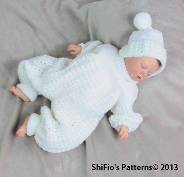 Download CP38 Baby Pram Suit, Hat, Knitting Pattern 2 Sizes Knitting Pattern #38 - Knitting Patterns immediately at Makerist