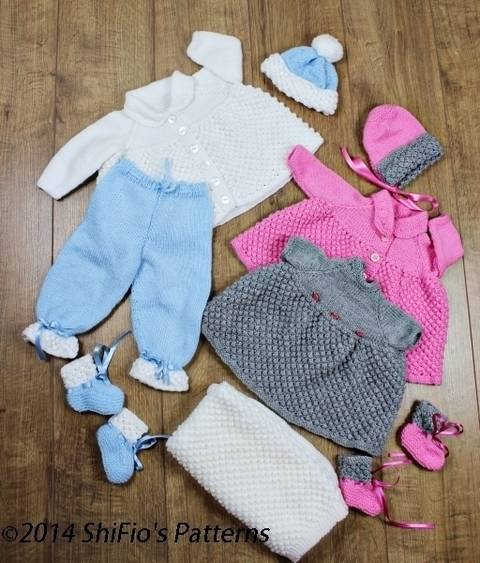 Download KP43 Bobble Baby Jacket, Trousers,Pants Dress, Booties, Hat & Blanket / Afghan Baby Knitting Pattern #43 immediately at Makerist