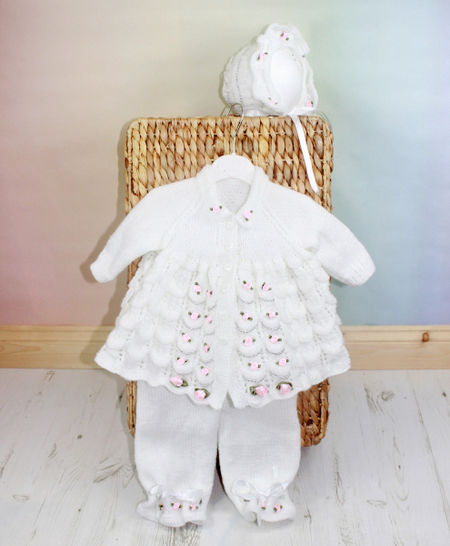 Download KP45  Candy Blush Baby Matinee Jacket, Trousers, Pants, Hat, Bonnet Knitting Pattern #45 - Knitting Patterns immediately at Makerist