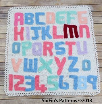 Download CP51 Alphabet Letters, Numbers & Afghan Blanket  Crochet Pattern #51 - Crochet Patterns immediately at Makerist