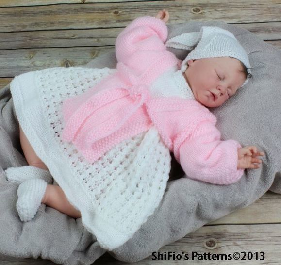 Download KP55 Calico Rose Baby Dress, Apron, Headscarf, Knitting Pattern #55 - Knitting Patterns immediately at Makerist