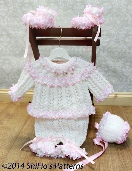 Download KP62 Angel's Grace Baby Top, Shorts, Booties & Bonnet, Lace Baby Knitting Pattern #62 - Knitting Patterns immediately at Makerist