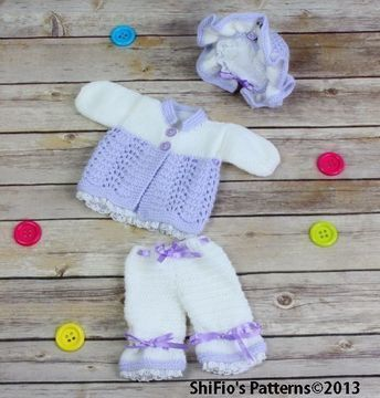 Download KP72 Doll Matinee Jacket, Bonnet, Trousers, Pants, Hat in 2 Sizes Knitting Pattern #72 - Knitting Patterns immediately at Makerist