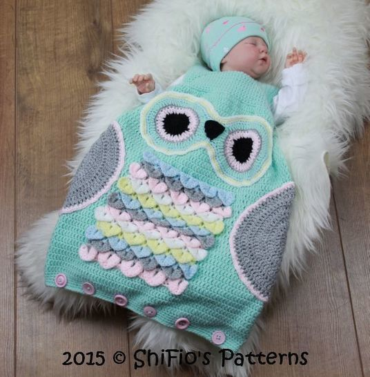 Cp327 Owl Baby Sleeping Bag Sack In 3 Sizes Crochet Pattern 327