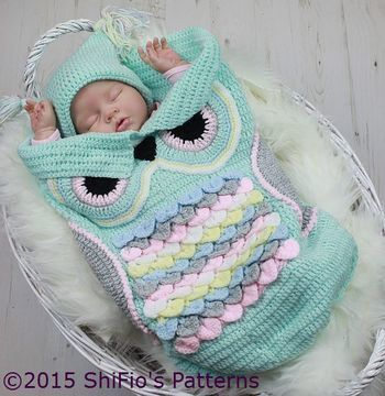 Download CP245  Owl Baby Cocoon, Papoose & Hat in 3 Sizes Crochet Pattern # 245 - Crochet Patterns immediately at Makerist