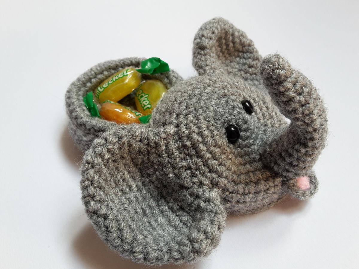 Elefantenkopf mit Geschenkeversteck – Häkelanleitung