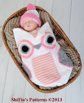 Download KP250  Baby Owl Cocoon, Papoose, Hat in 3 Sizes Knitting Pattern #250  - Knitting Patterns immediately at Makerist