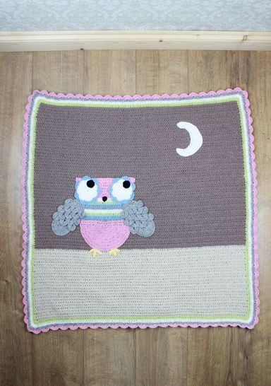 Download CP301  Hootie Tootie Baby Afghan owl Blanket with Crocodile st Crochet Pattern #301 - Crochet Patterns immediately at Makerist