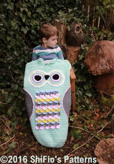 Download CP345 Owl Child Cocoon, Sleeping bag in 3 Sizes 1- 10 years #345 - Crochet Patterns immediately at Makerist