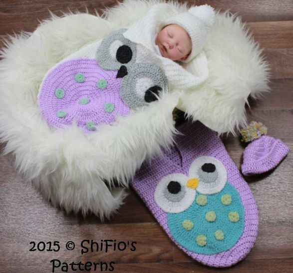 Download CP331 Owl Baby Cocoon, Papoose & Hat in 3 Sizes Crochet pattern # 331 - Crochet Patterns immediately at Makerist