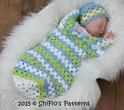 Download CP329 Granny st Baby Cocoon, Papoose & Hat in 3 Sizes  Crochet Pattern #329 - Crochet Patterns immediately at Makerist