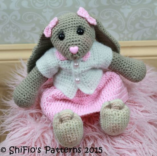 CP40 Blossom Easter Bunny Toy Rabbit Cardigan Skirt Headband Gorgeous Crochet Rabbit Pattern