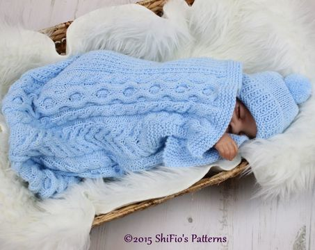 Download KP318 Cuddle Cable Cocoon, Papoose, Hat Knitting Pattern in 2 Sizes Baby Knitting Pattern #318 - Knitting Patterns immediately at Makerist
