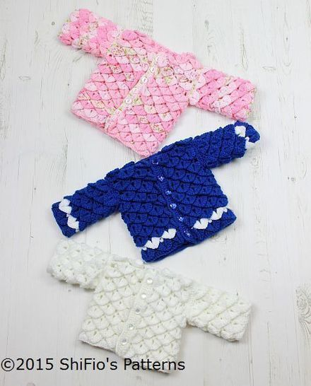 Download CP311 For Baby Crocodile Stitch Cardigan in 3 sizes Baby Crochet Pattern #311 - Crochet Patterns immediately at Makerist