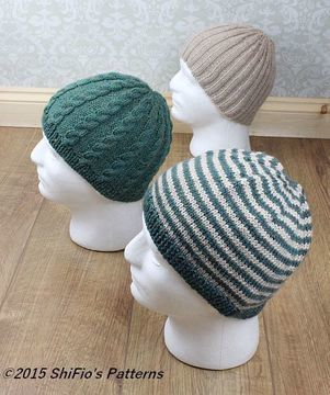 Download KP310 Mens Hat's Pattern, beanies, cable beanie, ribbed beanie, striped beanie, Knitting Pattern #310 - Knitting Patterns immediately at Makerist