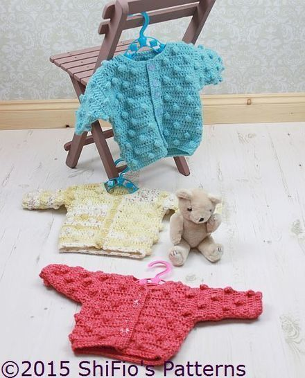 Download CP309 Baby Bobble Cardigan in 3 Sizes Baby Crochet Pattern #309 - Crochet Patterns immediately at Makerist