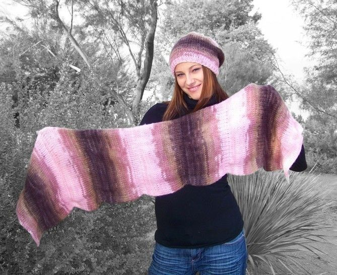 Download Slouchy Beanie, Slouchy Hat, Knit Scarf, Wrap Scarf - Knitting Patterns immediately at Makerist