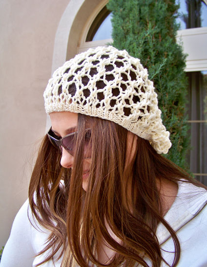 Download Slouchy Hat, Mesh Hat, Womens Hat, Summer Hat  - Knitting Patterns immediately at Makerist
