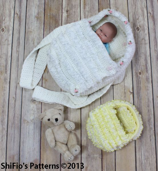 Knitting Pattern For Dolls Moses Basket : CP77 Doll, Itty Bitty, Carry Cot Moses Basket Crochet ...
