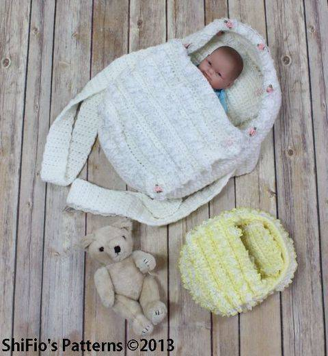 Download CP77 Doll, Itty Bitty, Carry Cot Moses Basket Crochet Pattern #77 immediately at Makerist