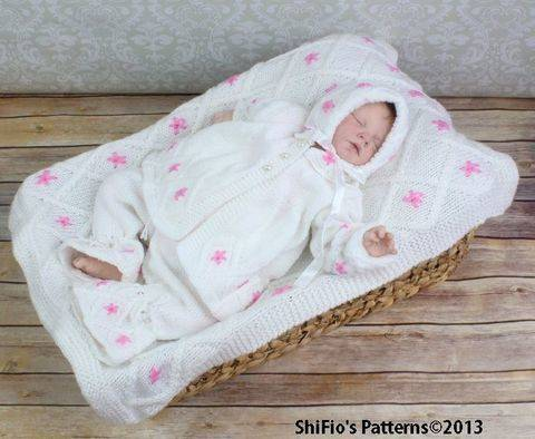 Download KP85 Lily Flower Matinee Jacket, Trousers / Pants, Bonnet & Blanket Afghan Knitting Pattern #85 immediately at Makerist