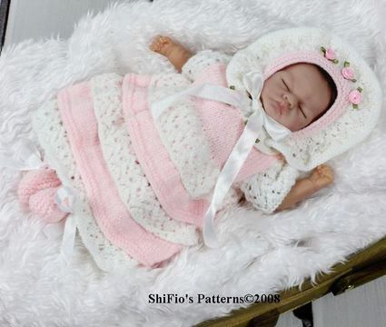Download KP94 Doll Lacey Layers Dress, Hat & Booties in 2 Sizes Knitting Pattern #94 - Knitting Patterns immediately at Makerist