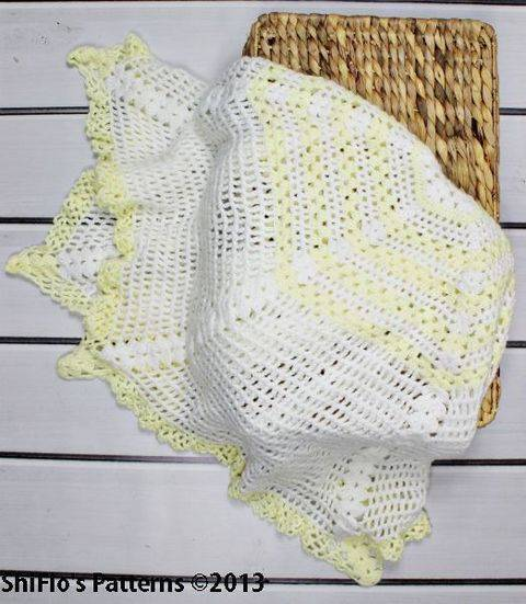 Download CP97 Cascade Christening Shawl, Blanket, Afghan Crochet Pattern #97 immediately at Makerist