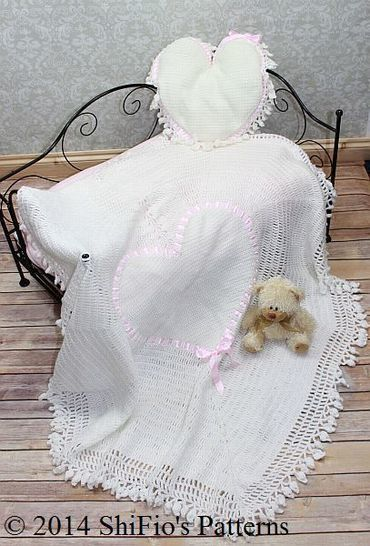 Download CP98 Heart Christening Shawl & Cushion Crochet pattern #98 - Crochet Patterns immediately at Makerist