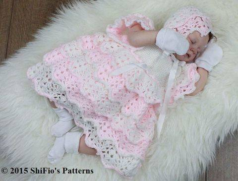 Download CP100 Full of Lace Baby Dress & Bonnet in 5 Sizes Baby Crochet Pattern #100 immediately at Makerist