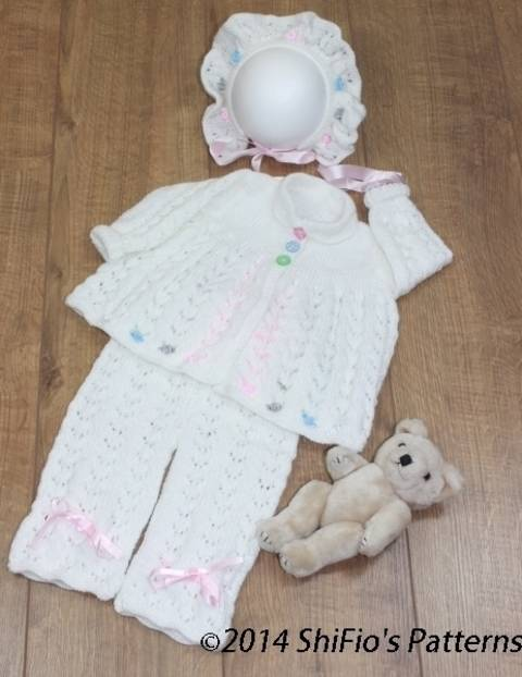 Download KP101 Beaded Babe Baby Jacket, Trousers/Pants & Bonnet Knitting Pattern #101 immediately at Makerist
