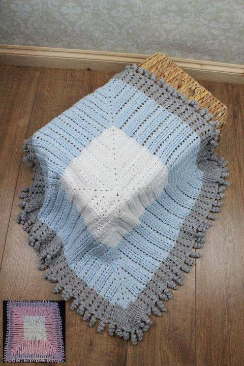 Download CP103 Curly Edged Blanket, Afghan, Pram, Cot, Crib Crochet Pattern #103 immediately at Makerist