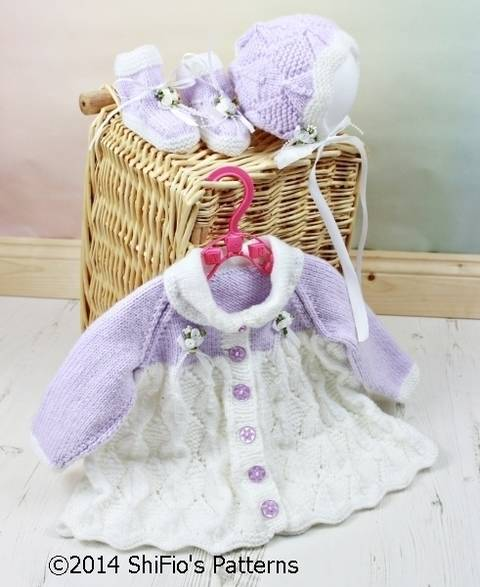 Download KP110 Diamond Baby Matinee Jacket, Bonnet & Booties Baby Knitting Pattern #110 immediately at Makerist