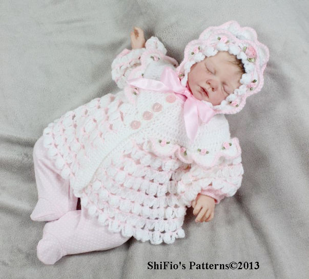 Download CP111 Spring Rose Matinee Jacket & Hat Crochet Pattern #111 - Crochet Patterns immediately at Makerist