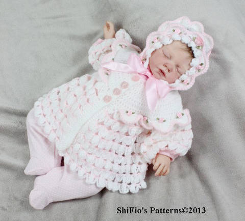 Download CP111 Spring Rose Matinee Jacket & Hat Crochet Pattern #111 immediately at Makerist