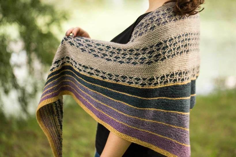 Download Sea Gems asymmetrical triangle shawl  - Knitting Patterns immediately at Makerist