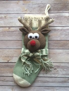 Download Rudolph Christmas Stocking - Crochet Patterns immediately at Makerist