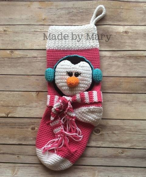 Download Penguin Christmas Stocking immediately at Makerist