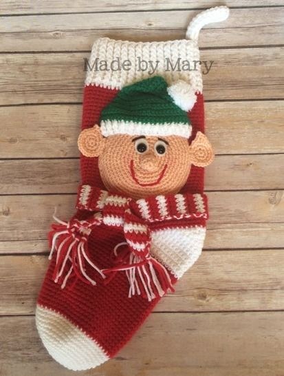 Download Elf Christmas Stocking - Crochet Patterns immediately at Makerist